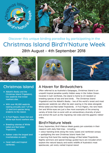 Bird N Nature Week Christmas Island September 2018