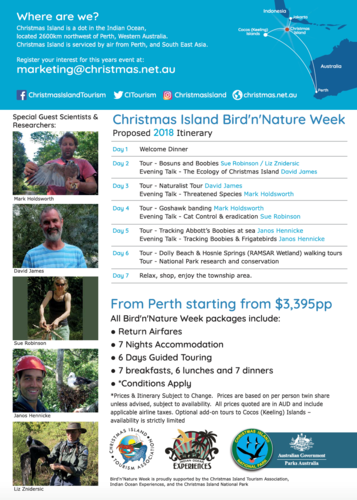 Bird n Nature week on Christmas Island September 2018