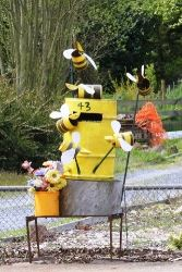 It's a hive of activity around this bee hive letterbox in Tasmania