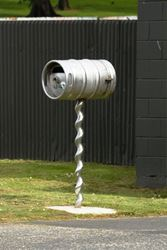 Very creative here - old keg has been turned into a giant corkscrew letterbox - sits just outside the pub - Tasmania