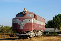 Teddy Bear riding high on top of this train in the outback! - Northern Territory