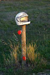 Great use of an old helmet -  Clunes, Victoria