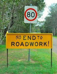 No End To Roadwork - have to agree to this. Photo by Penny Smith