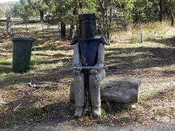 Old Ned Kelly waiting by the highway for an unsuspecting stage coach to rob. Country Victoria. Photo by Jill Luke
