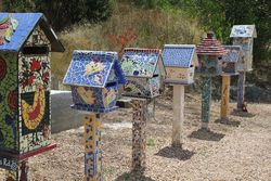 Mosaic Letterboxes created from the Black Saturday Fires of 2009 - by Sandi Kogtevs
