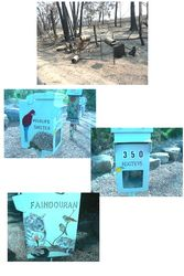 Steel letterbox survived the 2009 fires - repainted with love by wildlife carer - by Sandi Kogtevs
