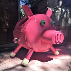 This little piggy stayed home to eat your mail. Photo by Noel.
