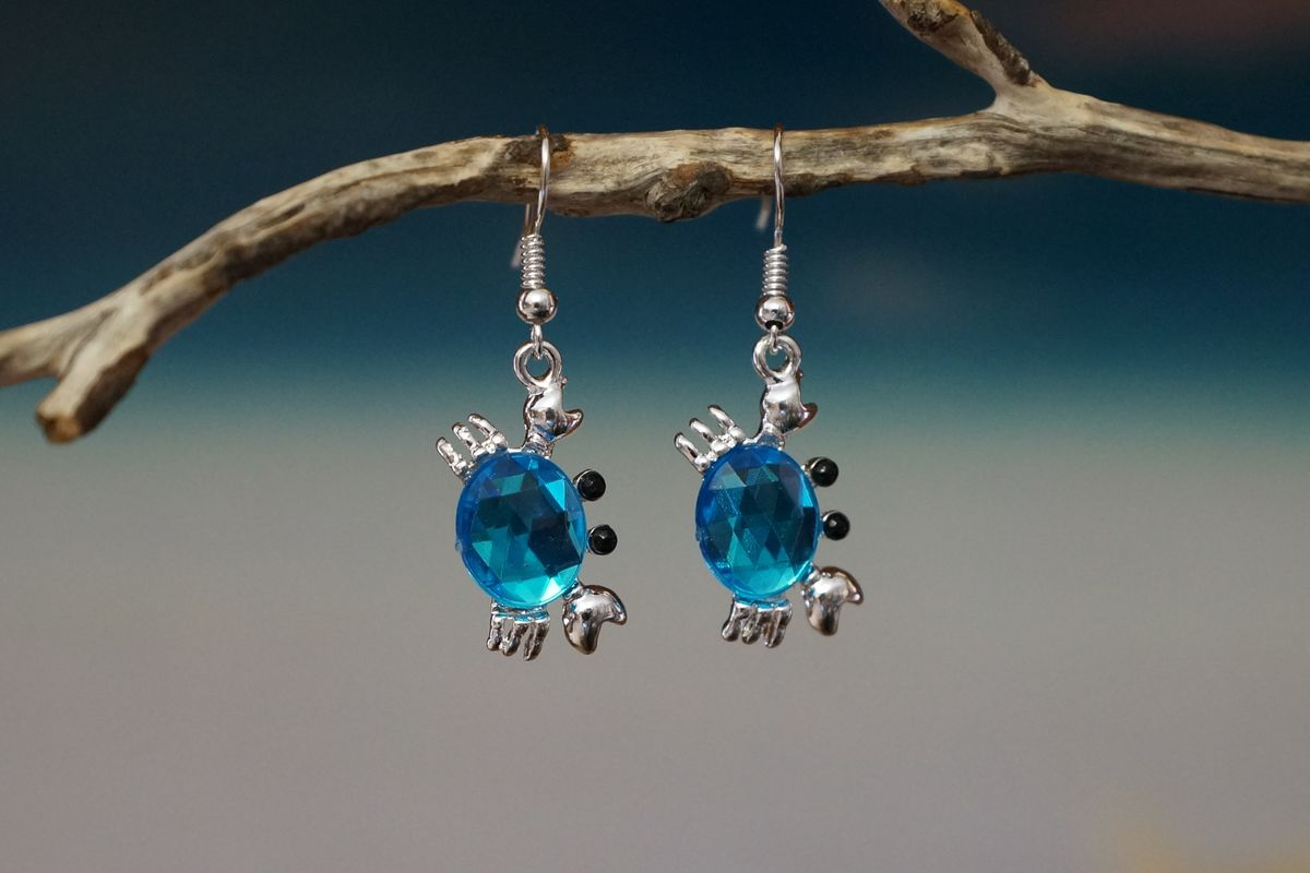 Blue Crystal and Silver Crab Earrings