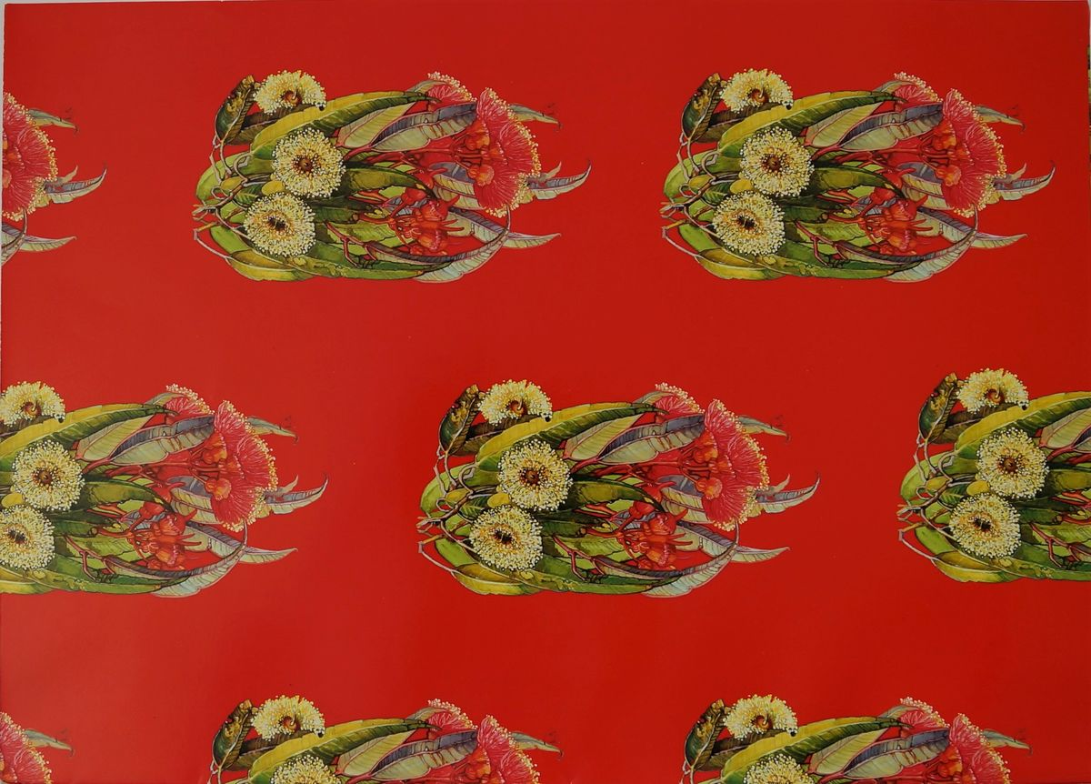 Blue gum and coral gum gift wrap - 1 sheet and is 46 x 64cm in size. Part of the item'