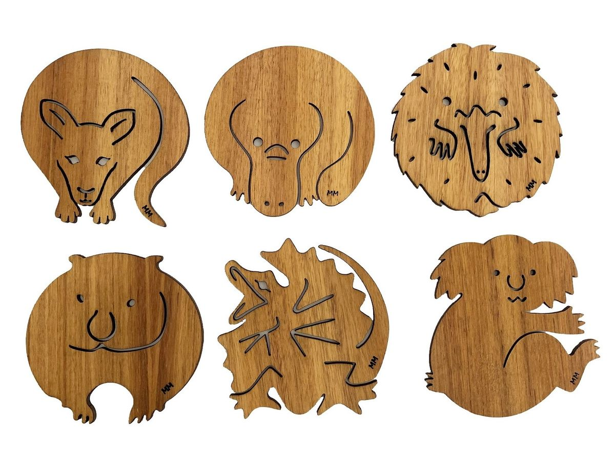 Coasters - Set of 6 Australian Animals - Blackwood
