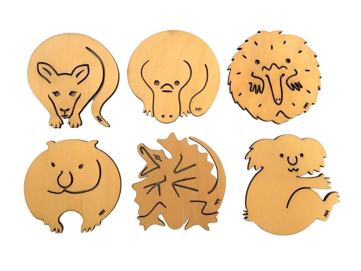 Coasters - Set of 6 Australian Animals - Pine