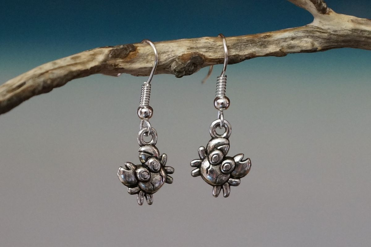 Cute Silver Crab Earrings