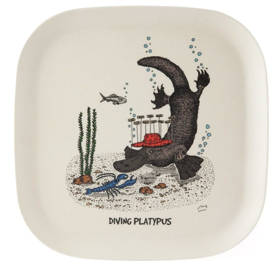 Featuring a whimsical illustration called diving platypus, this is an eco-bamboo fibre tra