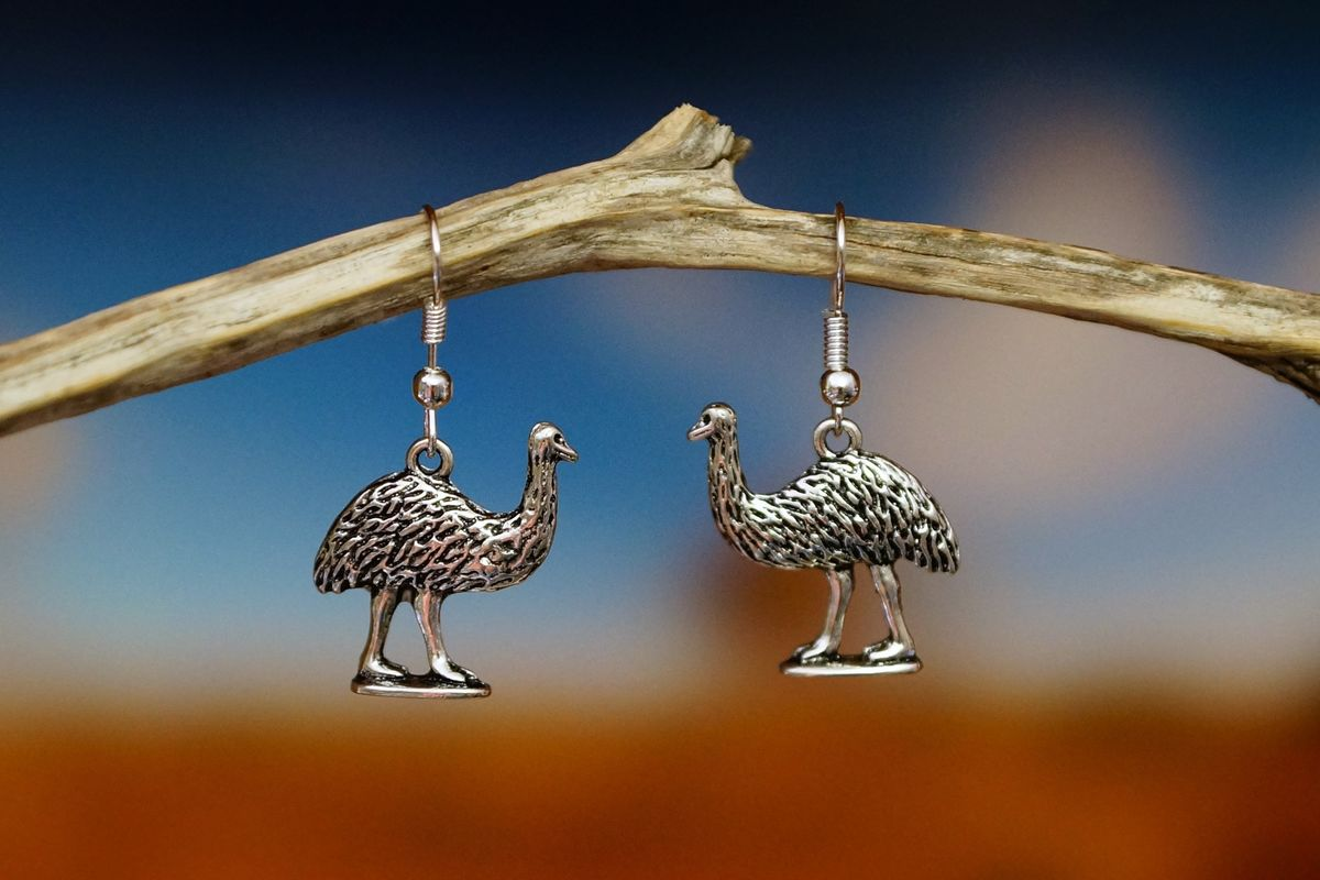 Emu Earrings   Silver   Made In Australia   The Land Down Under