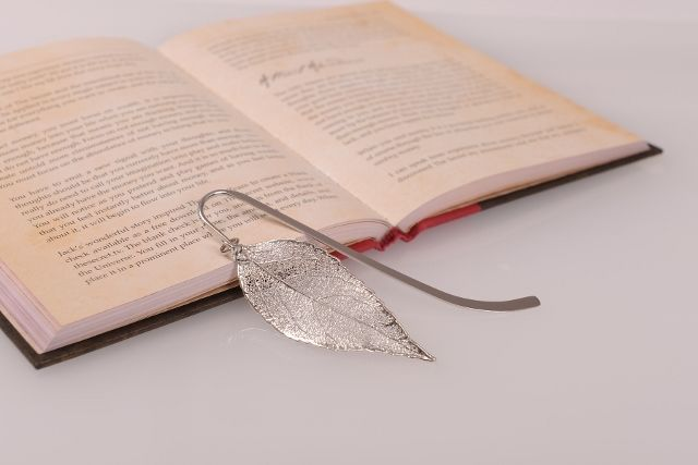 Eucalyptus Real Leaf Bookmark - Silver