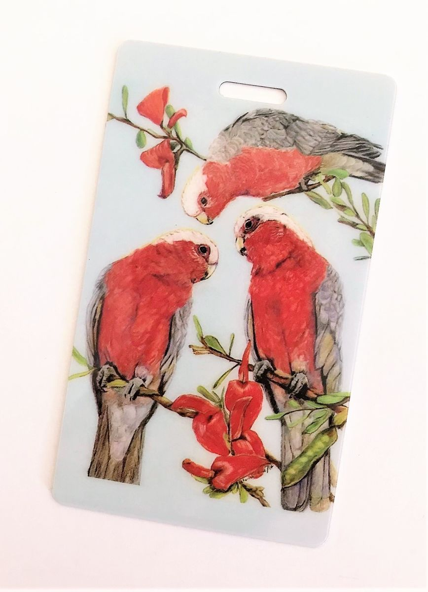 Colourful galah luggage tag. Plastic card with rubber strap. A great souvenir or reminder