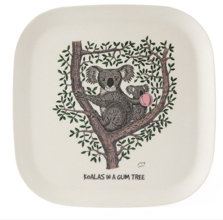 This eco-bamboo fibre tray features whimsical illustration of koalas in a gum tree. This e