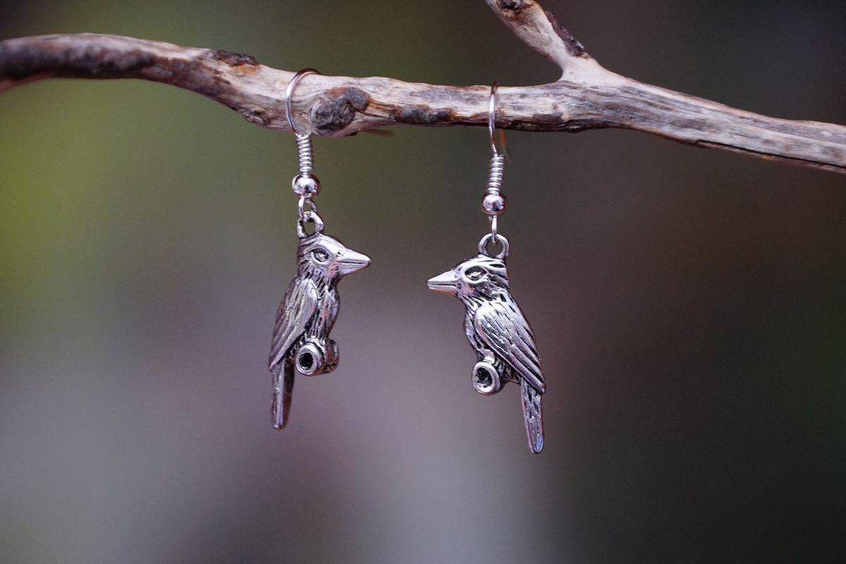 Kookaburra Earrings - Silver - The Land Down Under