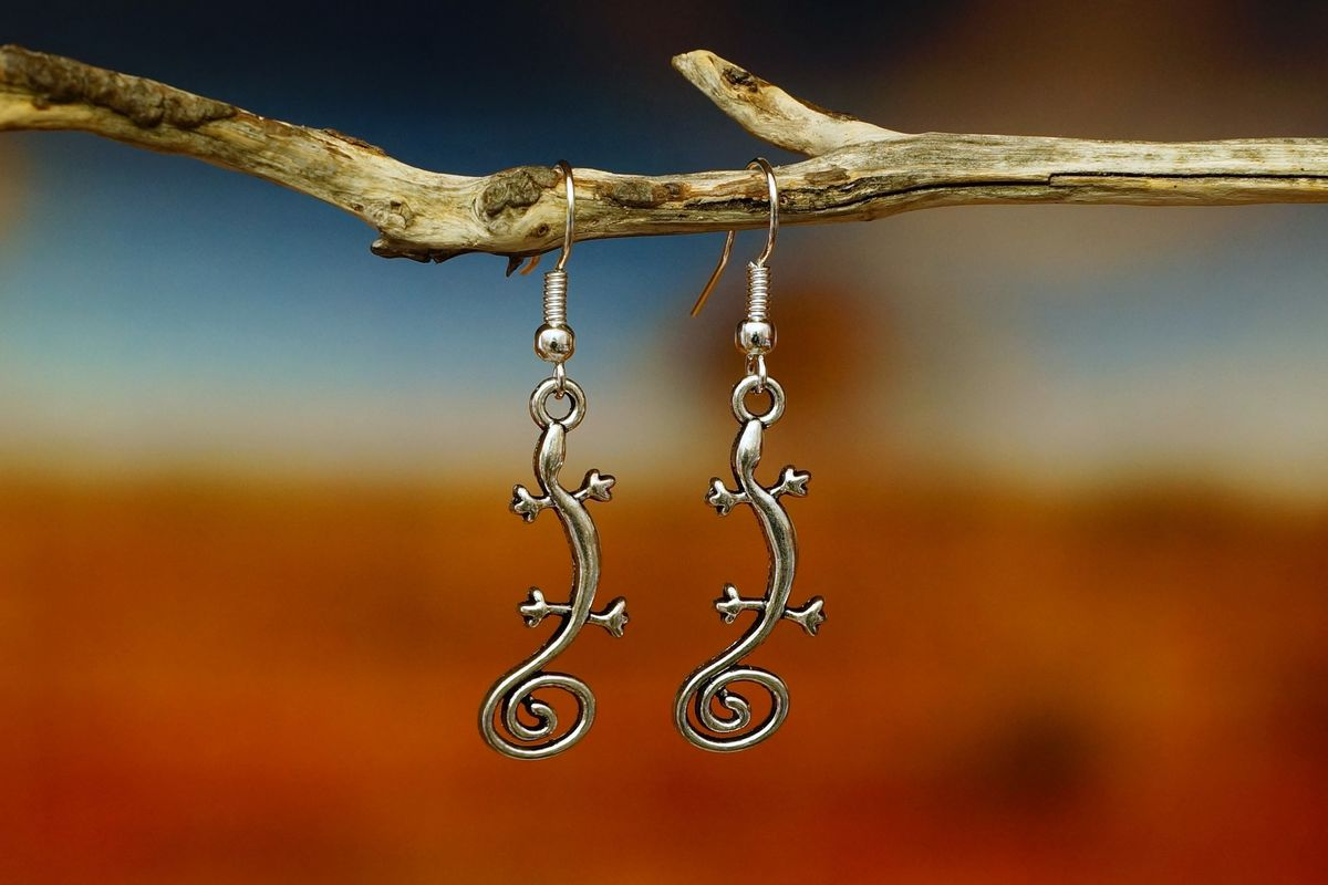 Lizard Earrings - Silver  Made in Australia   The Land Down Under