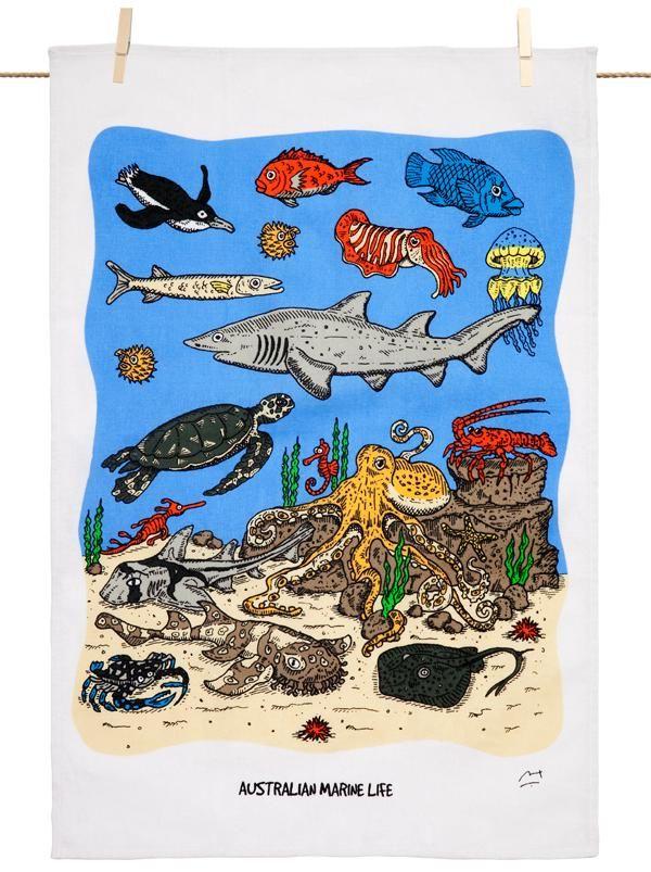 Marine Life Tea Towel - The Land Down Under