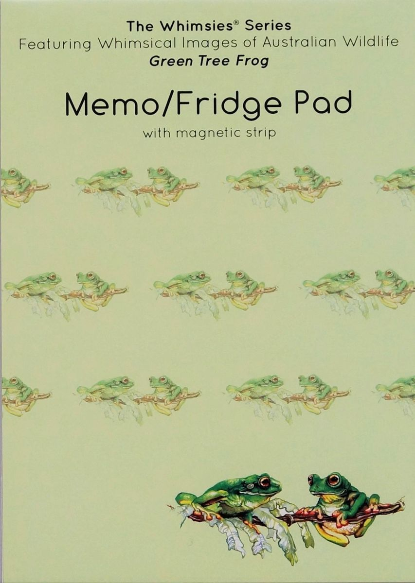 A6 sized Memo Fridge Pad - Green Tree Frog