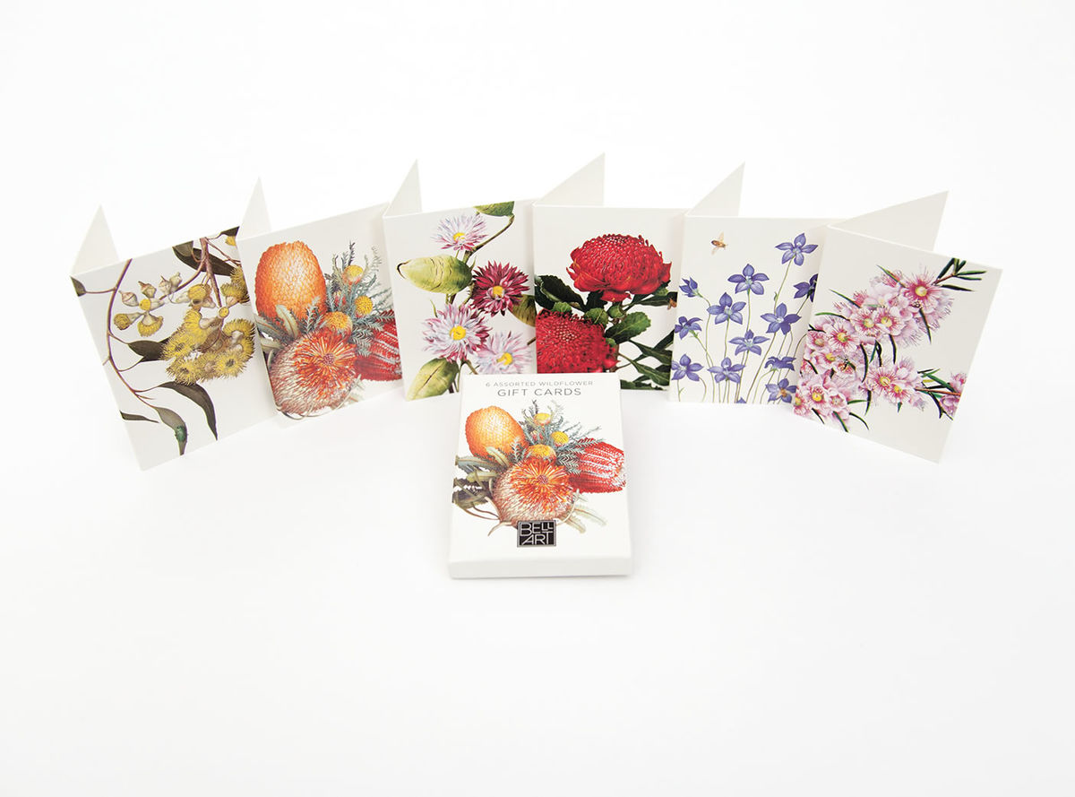 A charming selection of small, native floral gift cards. 6 Mini notecards. Available at Th