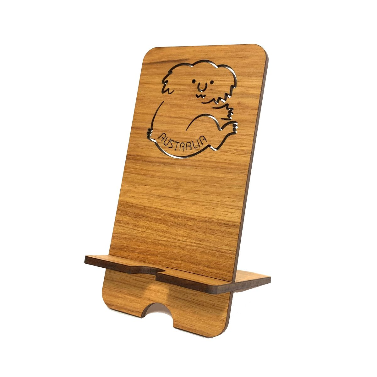 Koala mobile phone charging stand made from sustainable Australian Blackwood.