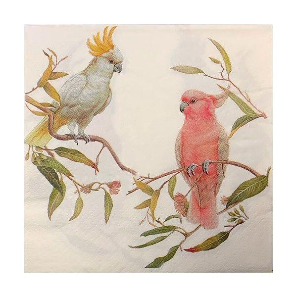 Napkins - Cockatoo and Galah - 20 paper napkins per pack. 33cm x 33cm