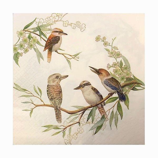 Kookaburra Napkins - 20 paper napkins per pack. 33cm x 33cm