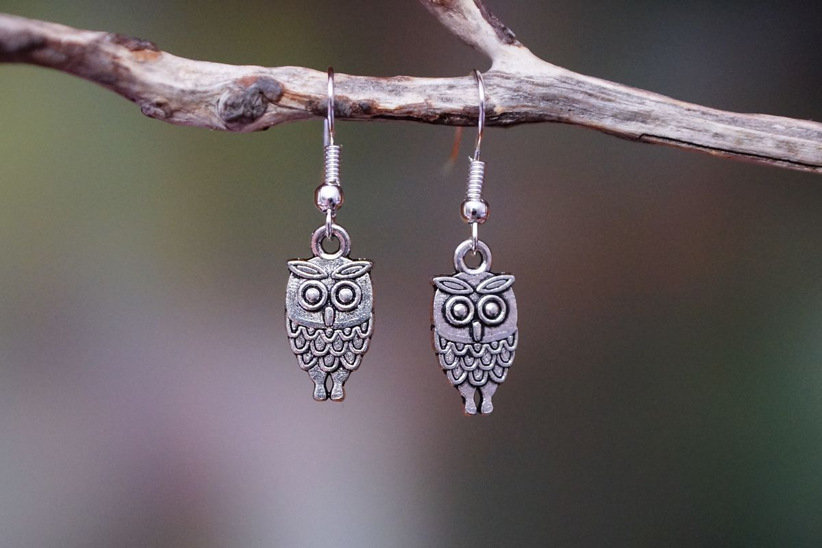 Owl Earrings - Silver - Made In Australia - The Land Down Under