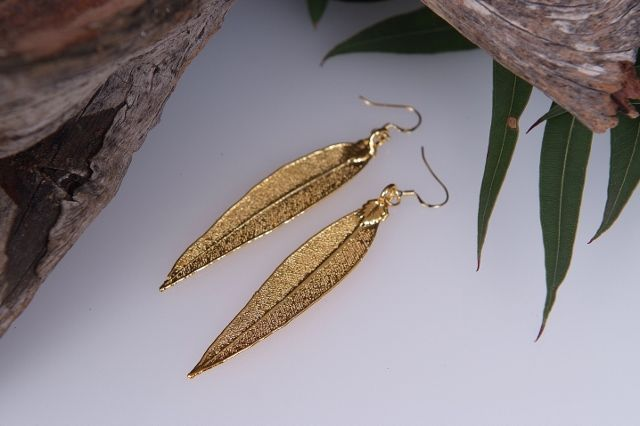 Red Gum Real Leaf Earrings - Gold