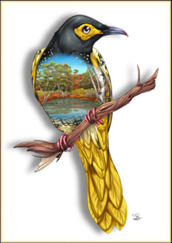 Regent Honeyeater Greeting Card - The Land Down Under