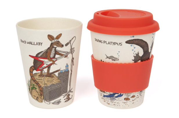 This keep cup features whimsical illustrations of rock wallaby and diving platypus. This k