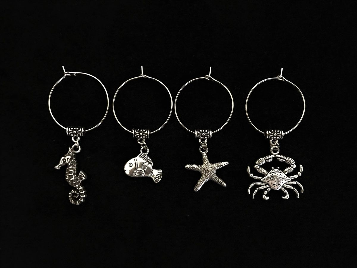 Set of 4 Silver Marine Animal Wine Glass Charms - The Land Down Under