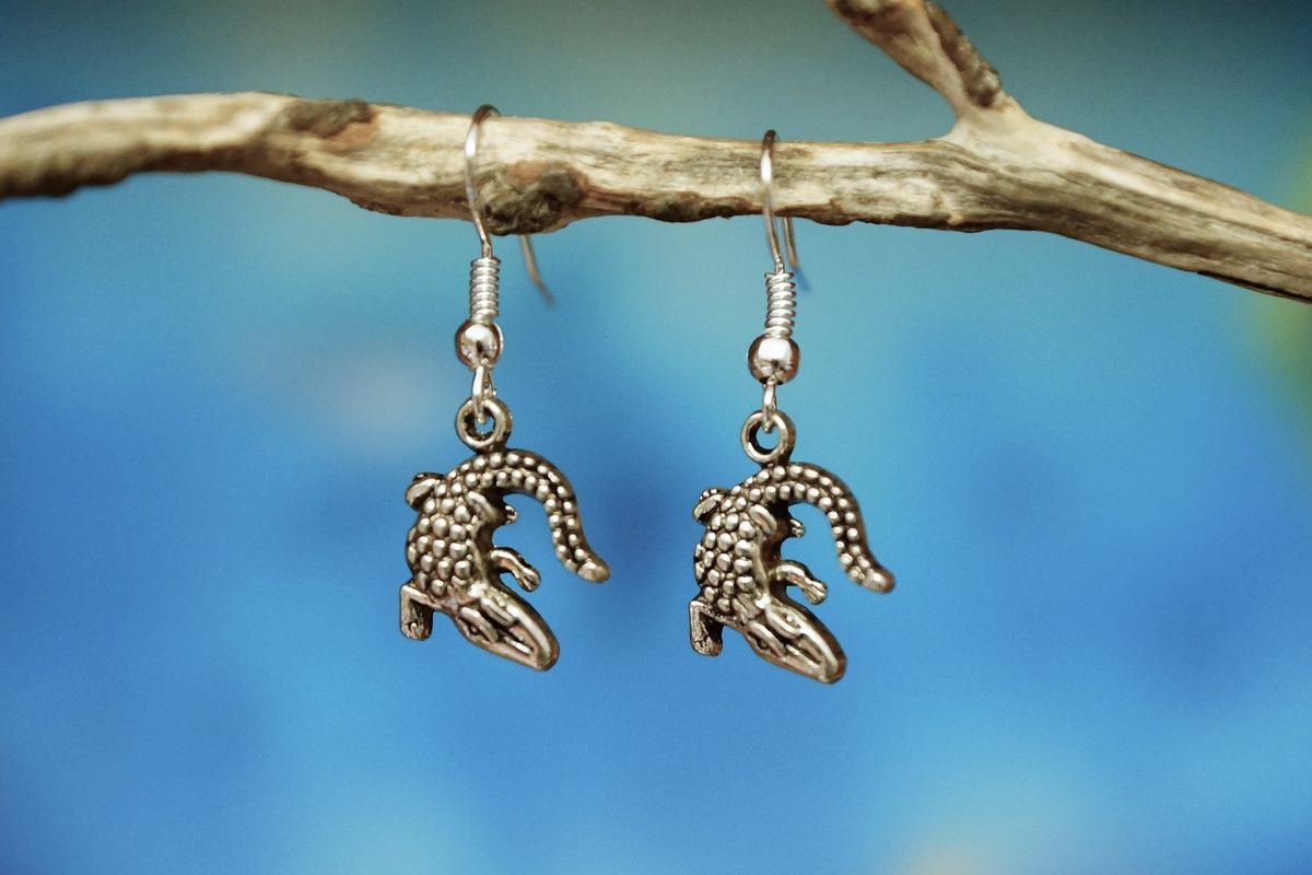 Silver Crocodile Earrings - Made In Australia for The Land Down Under