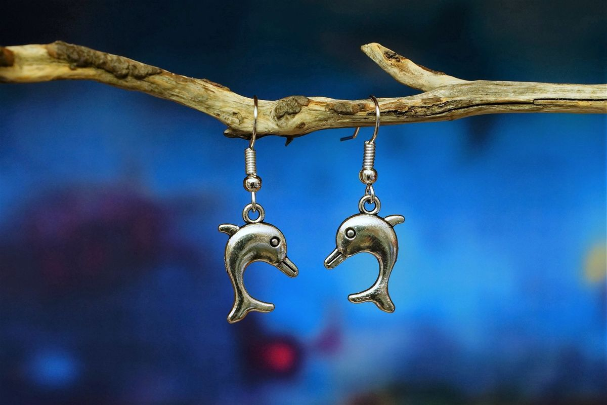 Silver Dolphin earrings made in Australia - The Land Down Under
