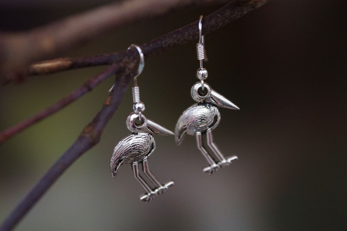 Silver Jabiru Earrings