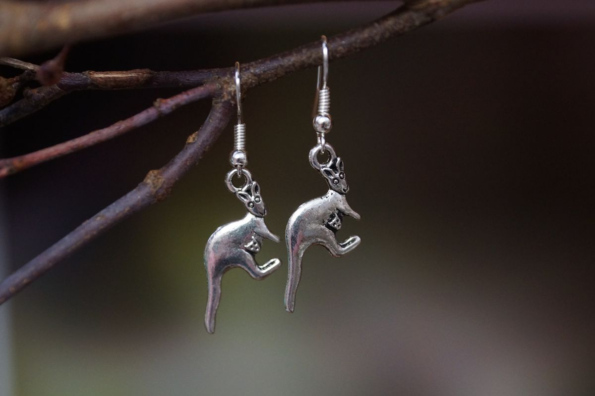 Silver Kangaroo Earrings