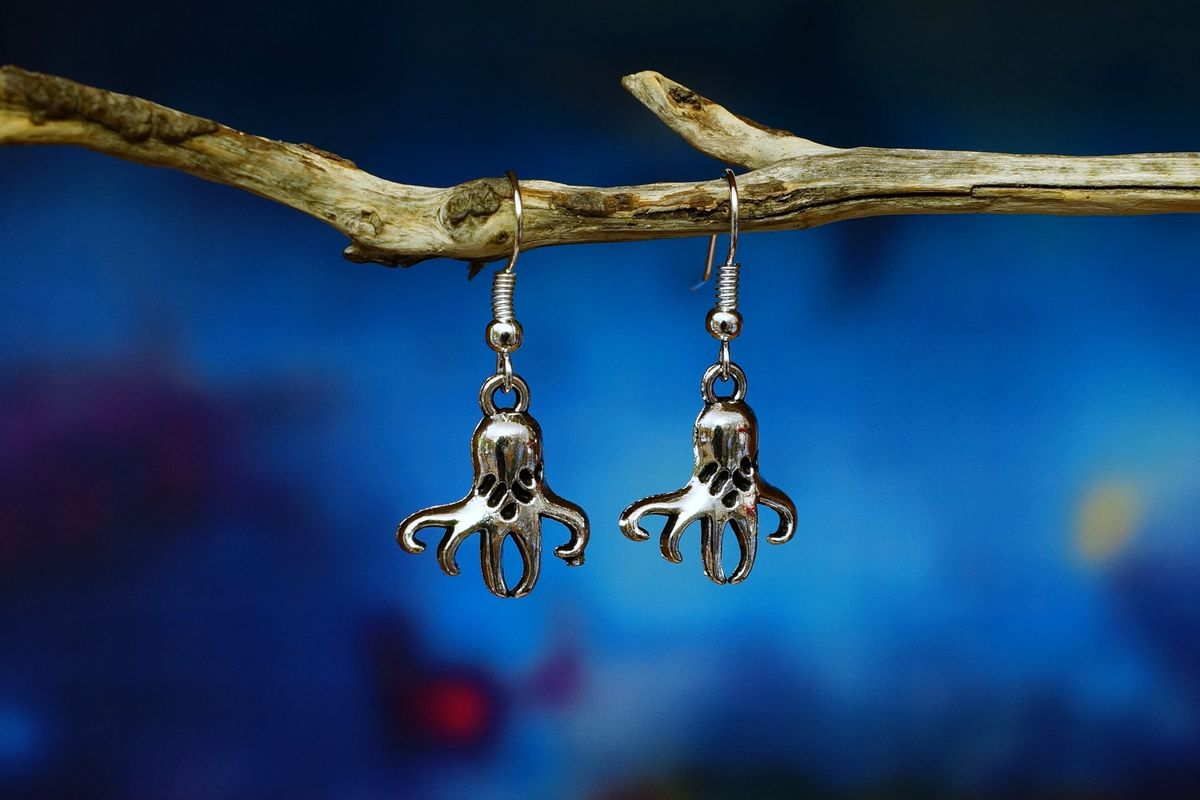 Silver Octopus Earrings - Made in Australia - The Land Down Under