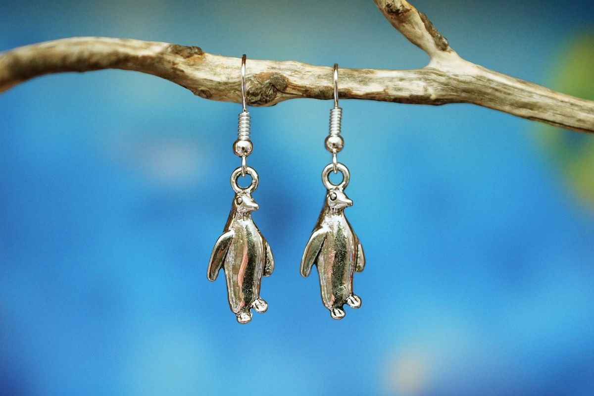 Silver Penguin Earrings made in Australia - The Land Down Under