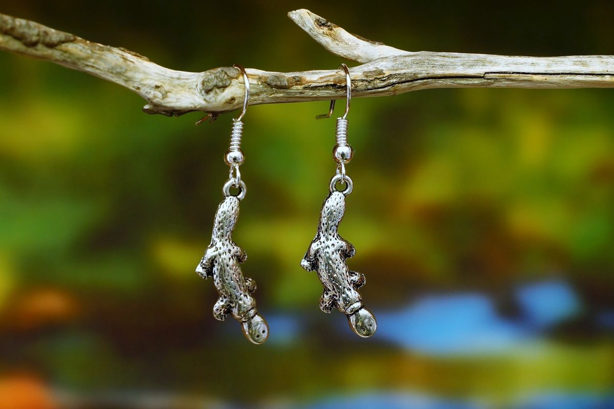 Silver Platypus Earrings  Made in Australia   The Land Down Under