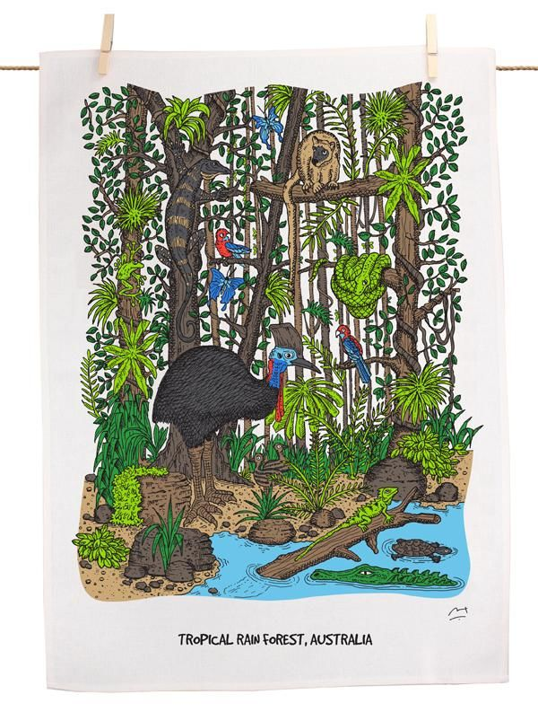 This tea towel features a beautiful, whimsical illustration of a tropical rainforests Aust
