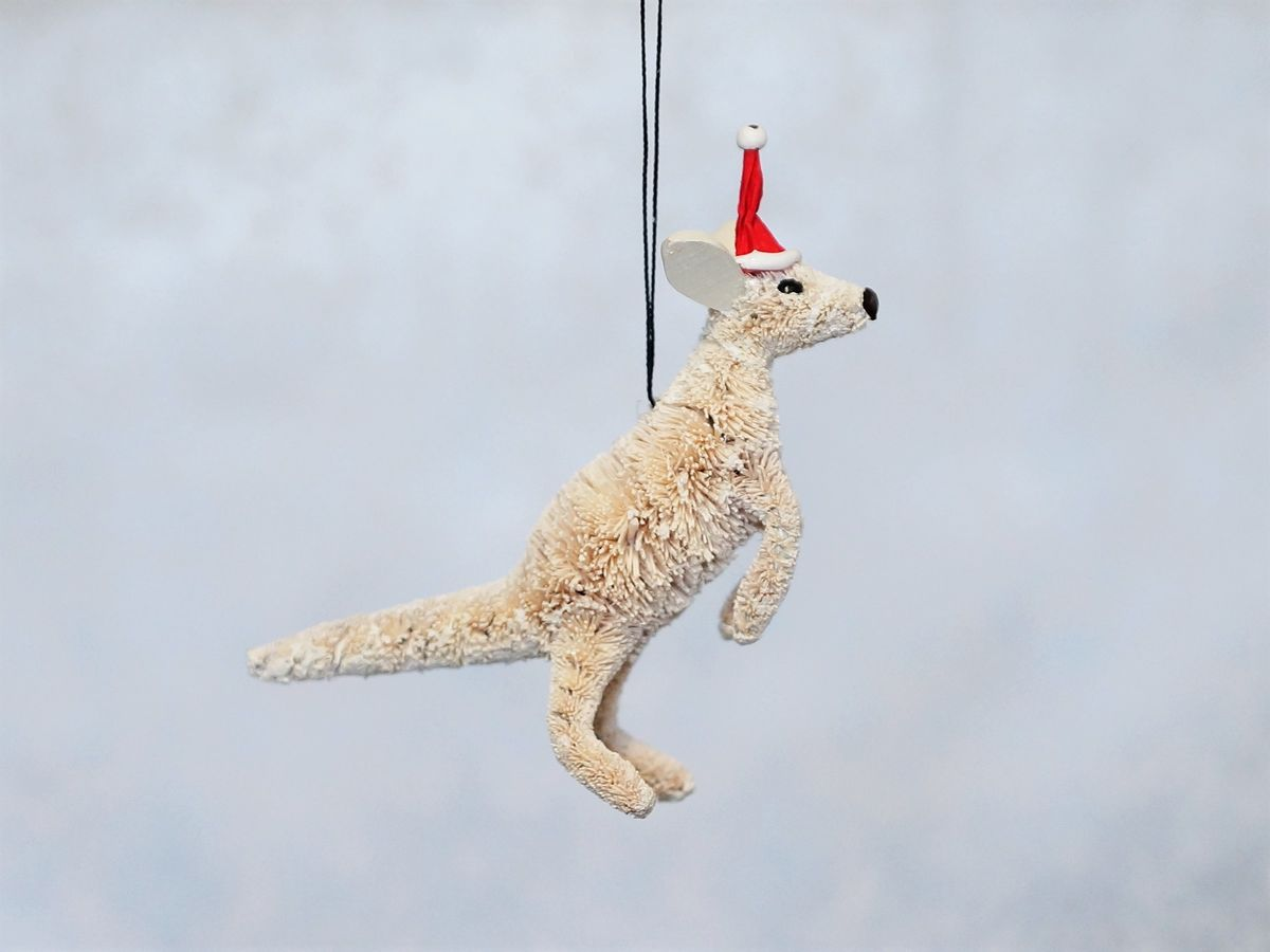 Kangaroo White Boomer Christmas Tree Decoration