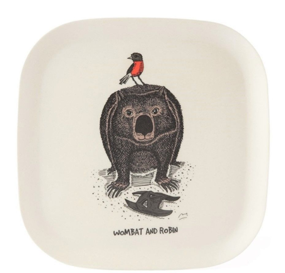 This eco-bamboo fibre tray features a whimsical illustration of wombat and robin. This eco