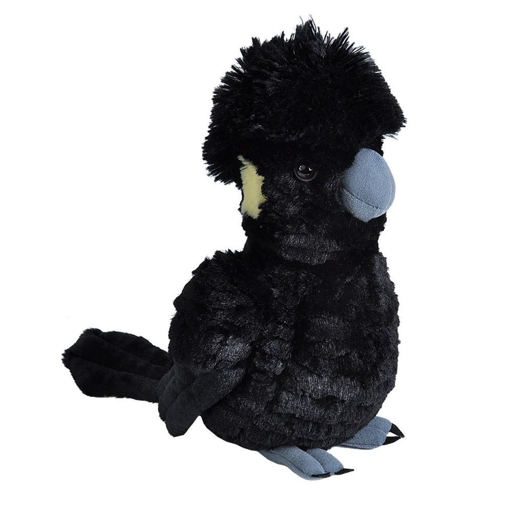 Super soft yellow-tailed black cockatoo plush 28 centimetres tall - available from The Lan