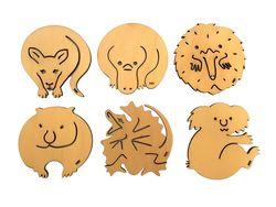 Coasters - Box 6 roo, koala, echidna, lizard, platy, wombat - Pine