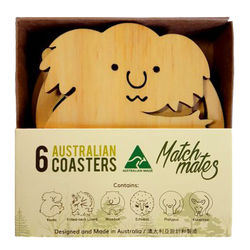 Coasters - Set of 6 Australian Animals - Pine