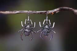 Decorative Spider Earrings - large - Silver