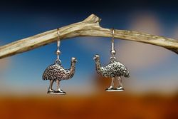 Emu Earrings - Silver