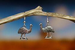 Emu Earrings - Silver